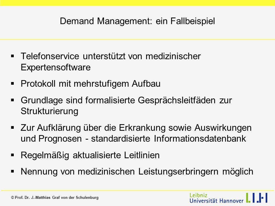 © Prof. Dr. J.-Matthias Graf von der Schulenburg Demand Management: ein Fallbeispiel Telefonservice unterstützt von medizinischer Expertensoftware Pro