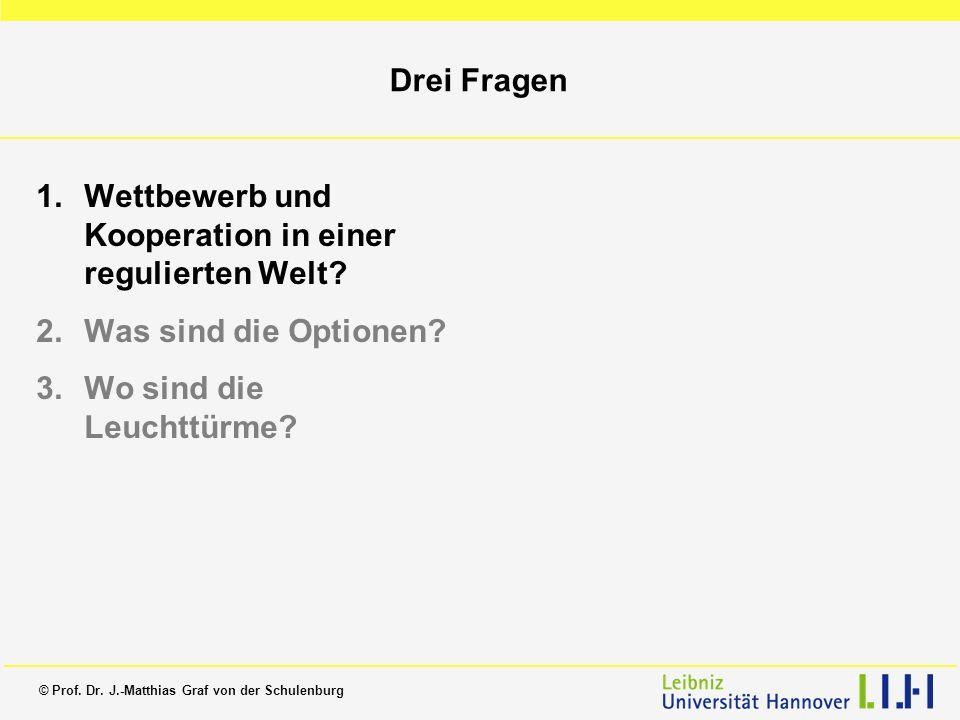 © Prof. Dr. J.-Matthias Graf von der Schulenburg Drei Fragen 1.Wettbewerb und Kooperation in einer regulierten Welt? 2.Was sind die Optionen? 3.Wo sin