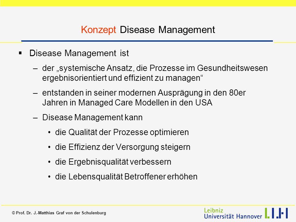 © Prof. Dr. J.-Matthias Graf von der Schulenburg Konzept Disease Management Disease Management ist –der systemische Ansatz, die Prozesse im Gesundheit