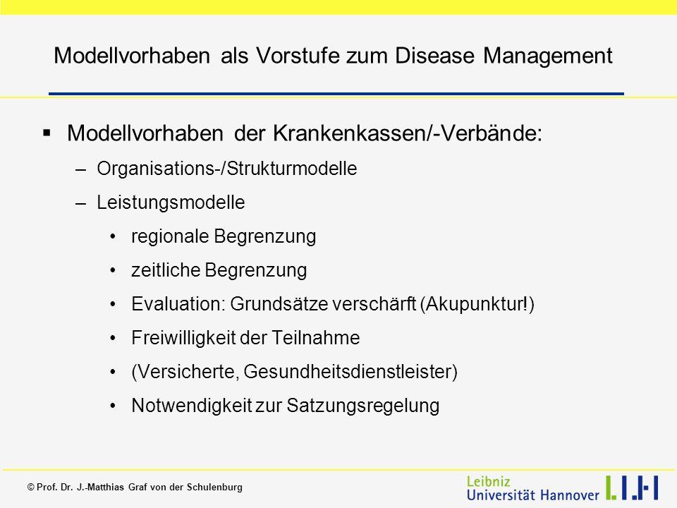 © Prof. Dr. J.-Matthias Graf von der Schulenburg Modellvorhaben als Vorstufe zum Disease Management Modellvorhaben der Krankenkassen/-Verbände: –Organ