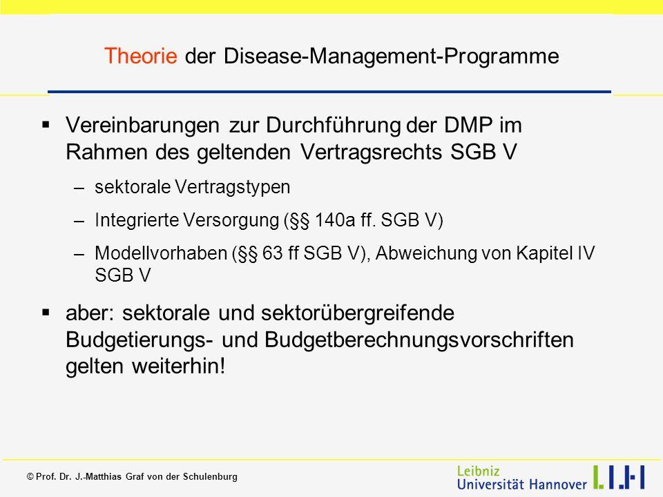 © Prof. Dr. J.-Matthias Graf von der Schulenburg Theorie der Disease-Management-Programme Vereinbarungen zur Durchführung der DMP im Rahmen des gelten
