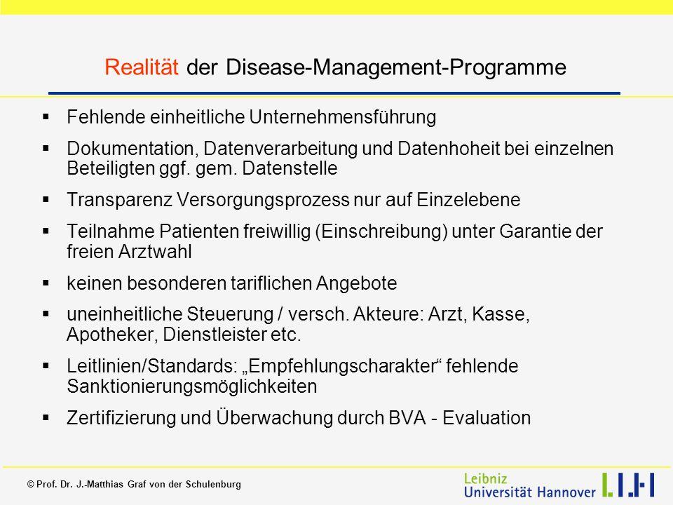 © Prof. Dr. J.-Matthias Graf von der Schulenburg Realität der Disease-Management-Programme Fehlende einheitliche Unternehmensführung Dokumentation, Da