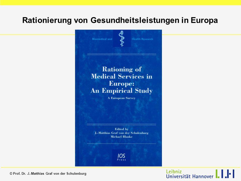 © Prof. Dr. J.-Matthias Graf von der Schulenburg Rationierung von Gesundheitsleistungen in Europa