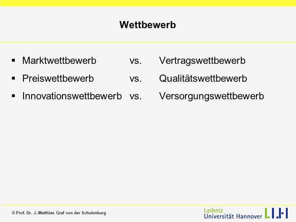 © Prof. Dr. J.-Matthias Graf von der Schulenburg Wettbewerb Marktwettbewerb vs. Vertragswettbewerb Preiswettbewerb vs. Qualitätswettbewerb Innovations