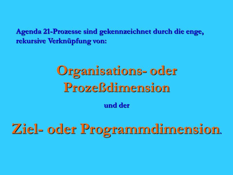 Agenda 21-Prozesse sind gekennzeichnet durch die enge, rekursive Verknüpfung von: Organisations- oder Prozeßdimension und der Ziel- oder Programmdimension.