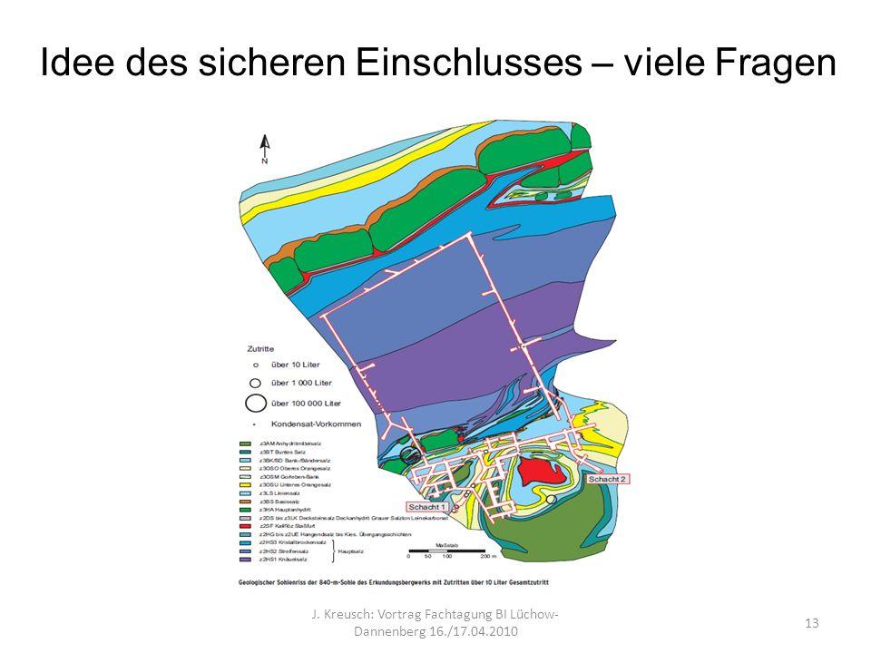 Idee des sicheren Einschlusses – viele Fragen J. Kreusch: Vortrag Fachtagung BI Lüchow- Dannenberg 16./17.04.2010 13