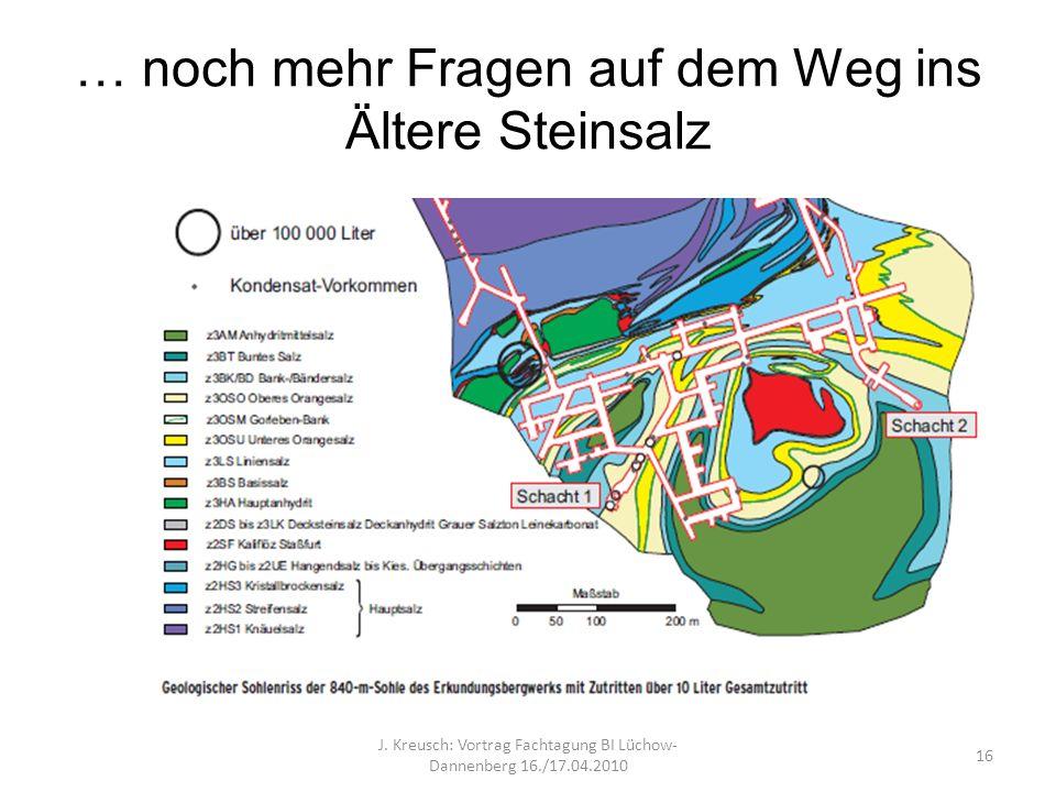 … noch mehr Fragen auf dem Weg ins Ältere Steinsalz J. Kreusch: Vortrag Fachtagung BI Lüchow- Dannenberg 16./17.04.2010 16