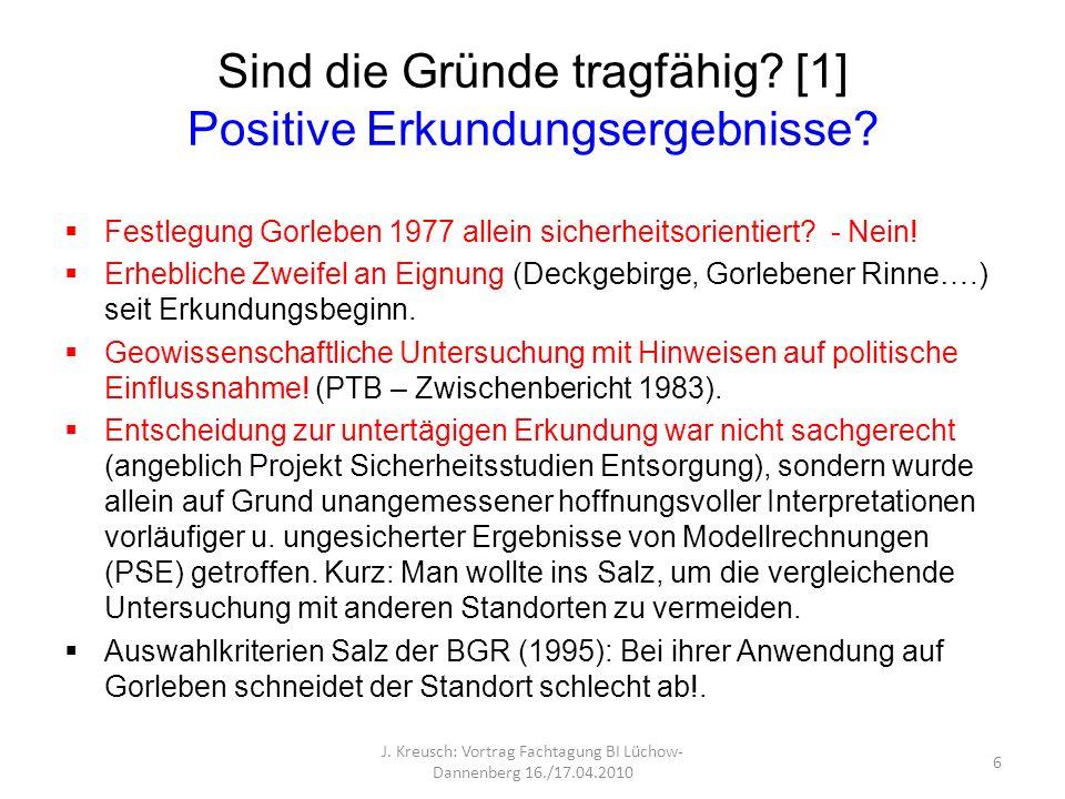 Sind die Gründe tragfähig? [1] Positive Erkundungsergebnisse? Festlegung Gorleben 1977 allein sicherheitsorientiert? - Nein! Erhebliche Zweifel an Eig