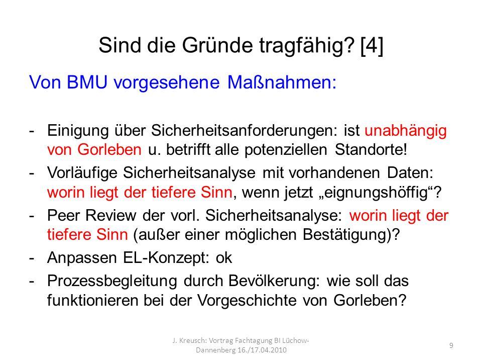 Sind die Gründe tragfähig? [4] Von BMU vorgesehene Maßnahmen: -Einigung über Sicherheitsanforderungen: ist unabhängig von Gorleben u. betrifft alle po