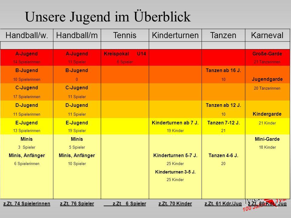 1916 - 1925 Unsere Jugend im Überblick Handball/w.Handball/mTennisKinderturnenTanzenKarneval A-Jugend Kreispokal U14 Große-Garde 14 Spielerinnen11 Spi