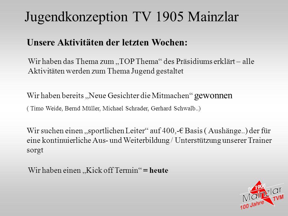 Jugendkonzeption TV 1905 Mainzlar Unsere Aktivitäten der letzten Wochen: Wir haben bereits Neue Gesichter die Mitmachen gewonnen ( Timo Weide, Bernd M