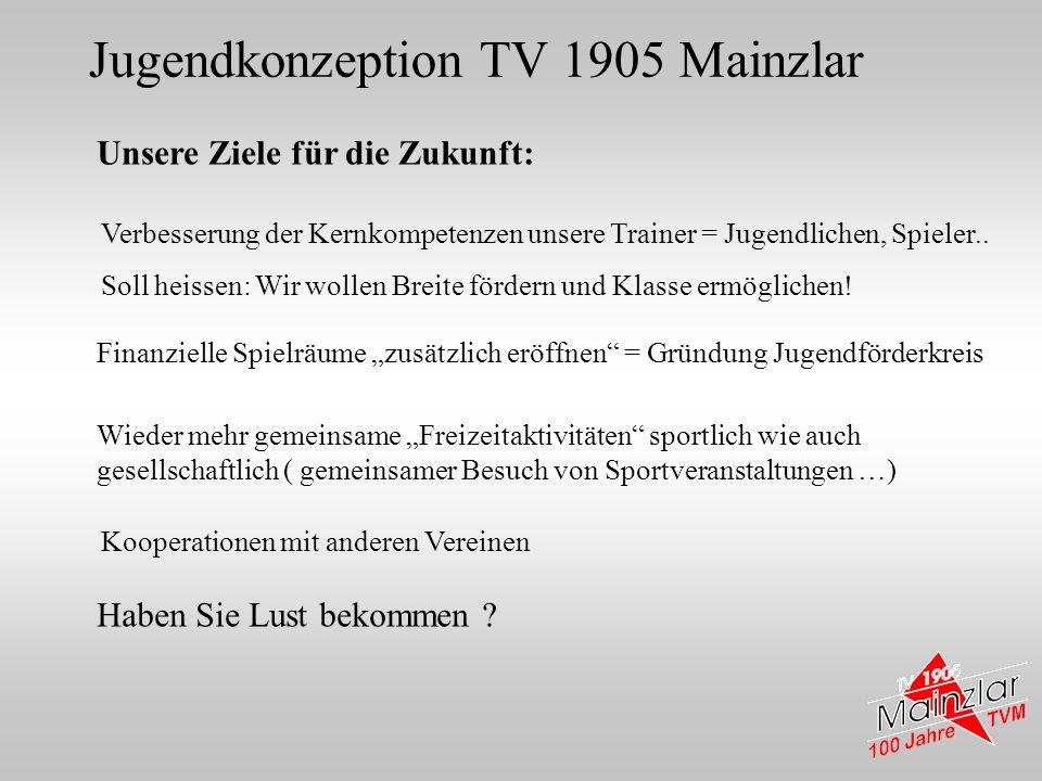 Jugendkonzeption TV 1905 Mainzlar Unsere Ziele für die Zukunft: Finanzielle Spielräume zusätzlich eröffnen = Gründung Jugendförderkreis Wieder mehr ge