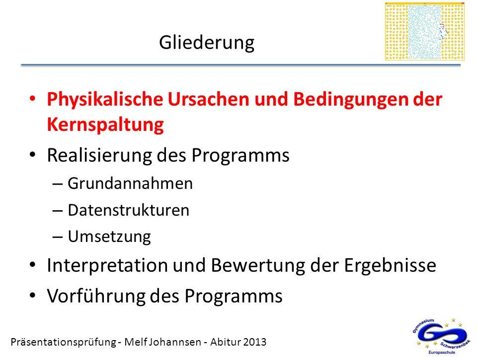 Präsentationsprüfung - Melf Johannsen - Abitur 2013 Gliederung Physikalische Ursachen und Bedingungen der Kernspaltung Realisierung des Programms – Gr