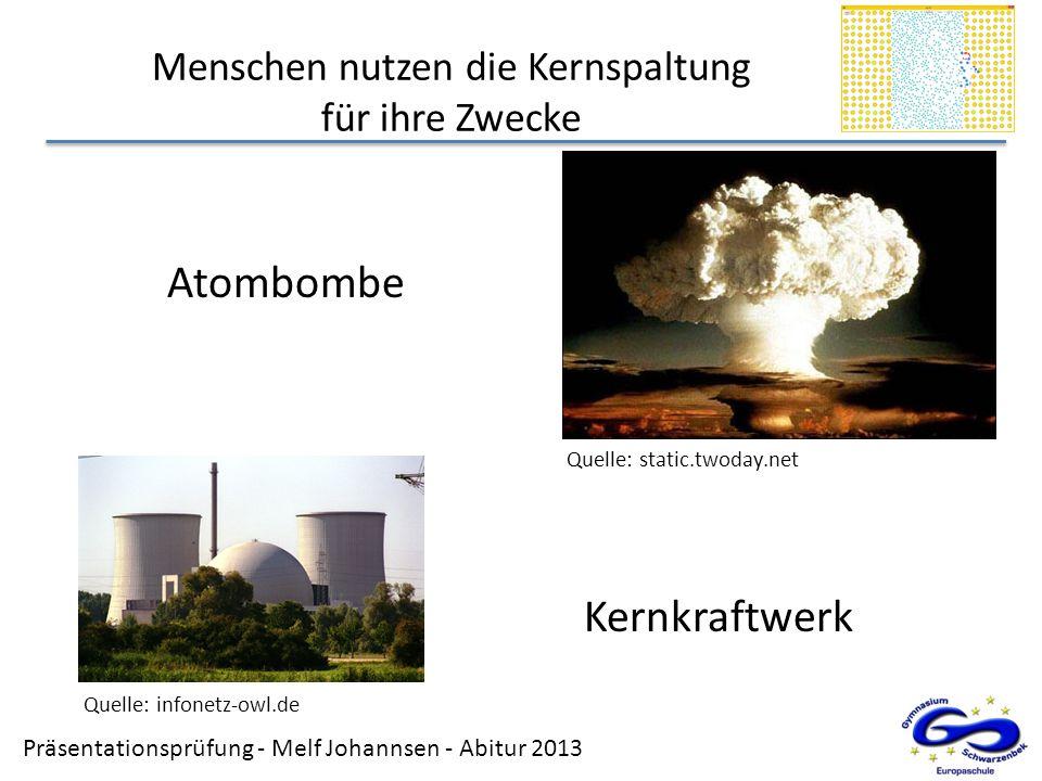 Präsentationsprüfung - Melf Johannsen - Abitur 2013 Menschen nutzen die Kernspaltung für ihre Zwecke Atombombe Kernkraftwerk Quelle: static.twoday.net