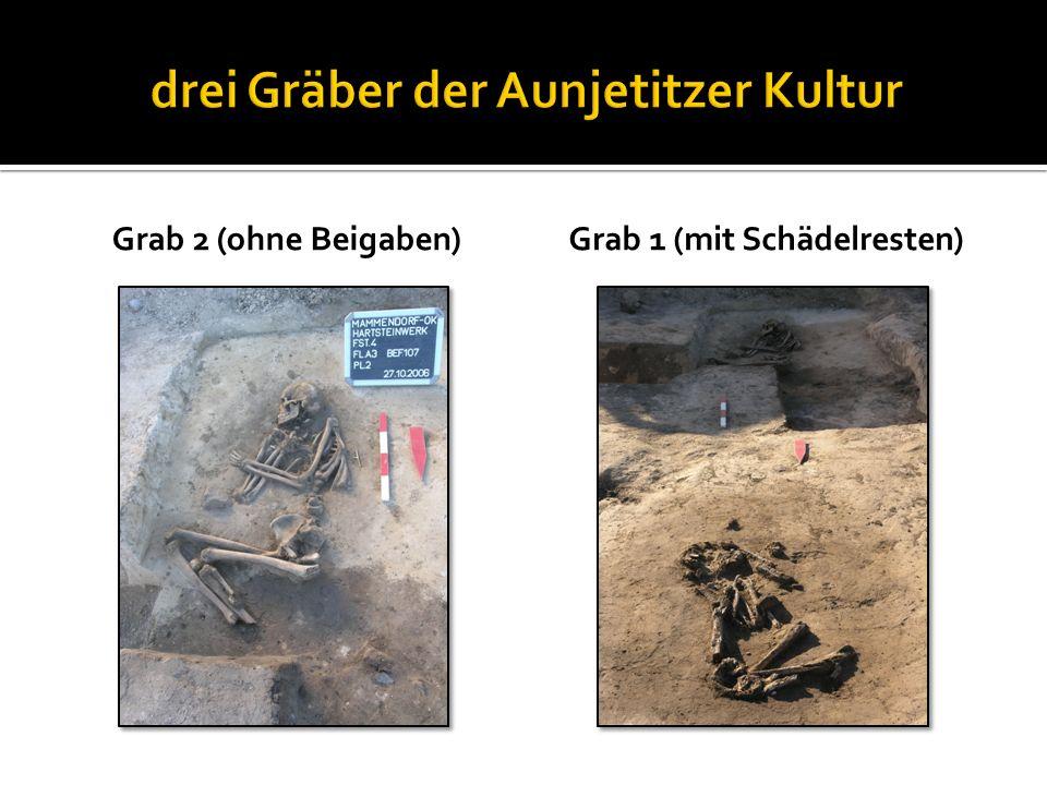 Grab 2 (ohne Beigaben)Grab 1 (mit Schädelresten)