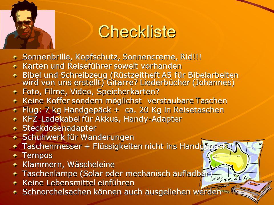 Checkliste Sonnenbrille, Kopfschutz, Sonnencreme, Rid!!.
