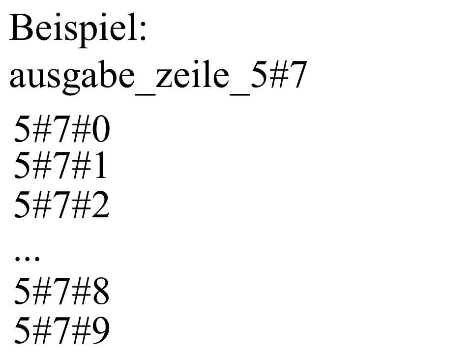 ausgabe_zeile_i ist Abkürzung für die Ausgabe aller Zeilen, die an der 1.