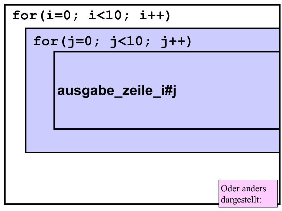 for(i=0; i<10; i++) for(j=0; j<10; j++)
