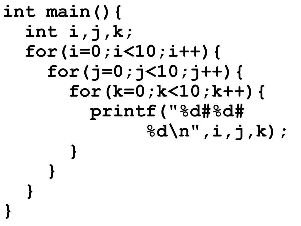 Wichtige Bemerkung: In der innersten Schleife durchläuft die Zahlenkombination i, j, k alle möglichen Werte, also