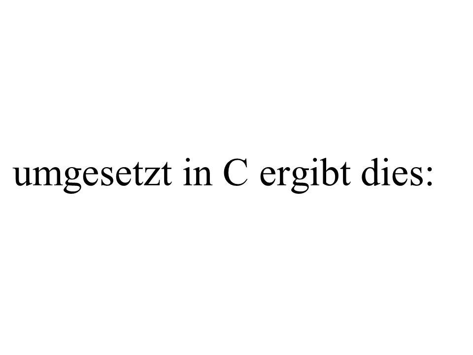int main(){ int s,e,n,d,m,o,r,y; int erg1, erg2, erg3; for (s=0; s<=9; s++){ for (e=0; e<=9; e++){ for (n=0; n<=9; n++){ for (d=0; d<=9; d++){ for (m=0; m<=9; m++){ for (o=0; o<=9; o++){ for (r=0; r<=9; r++){ for (y=0; y<=9; y++){ erg1=s*1000+e*100+n*10+d*1+m*1000+o*100+r*10+e*1; erg2 = m*10000 + o*1000 + n*100 + e*10 + y*1; if(erg1 == erg2){ erg3=s!=e && s!=n && s!=d && s!=m && s!=o && s!=r && s!=y && e!=n && e!=d && e!=m && e!=o && e!=r && e!=y && n!=d && n!=m && n!=o && n!=r && n!=y && d!=m && d!=o && d!=r && d!=y && m!=o && m!=r && m!=y && o!=r && o!=y && r!=y; if(erg3!=0){ printf( %d %d %d %d\n ,s,e,n,d); printf( %d %d %d %d\n ,m,o,r,e); printf( %d %d %d %d %d\n\n ,m,o,n,e,y); schliessende Klammern mussten aus Platzgründen leider weggelassen werden