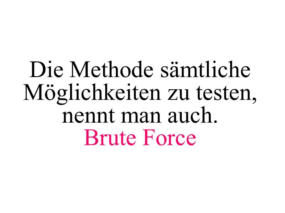 Wo wird Brute Force noch benutzt ?