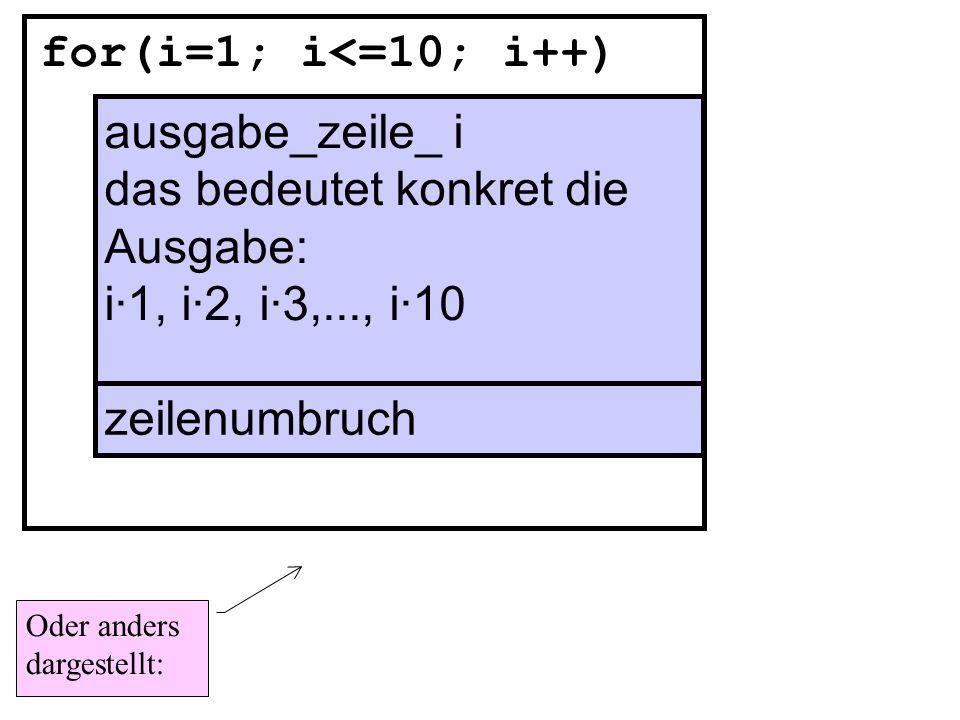 for(i=1; i<=10; i++) ausgabe(i·1), ausgabe(i·2), ausgabe(i·3),..., ausgabe(i·10) zeilenumbruch Wie kann man diese Anweisungen mit welcher Anweisung durch ein Struktogramm auch noch kompakter (kürzer) darstellen ?