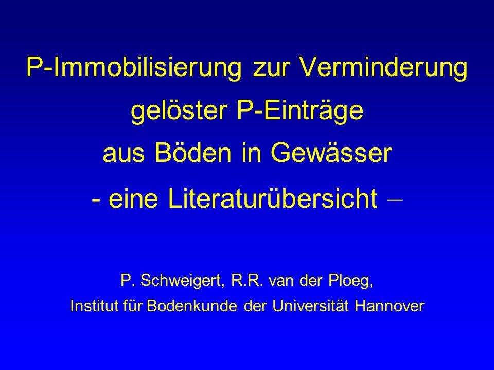 P-Immobilisierung zur Verminderung gelöster P-Einträge aus Böden in Gewässer - eine Literaturübersicht – P. Schweigert, R.R. van der Ploeg, Institut f