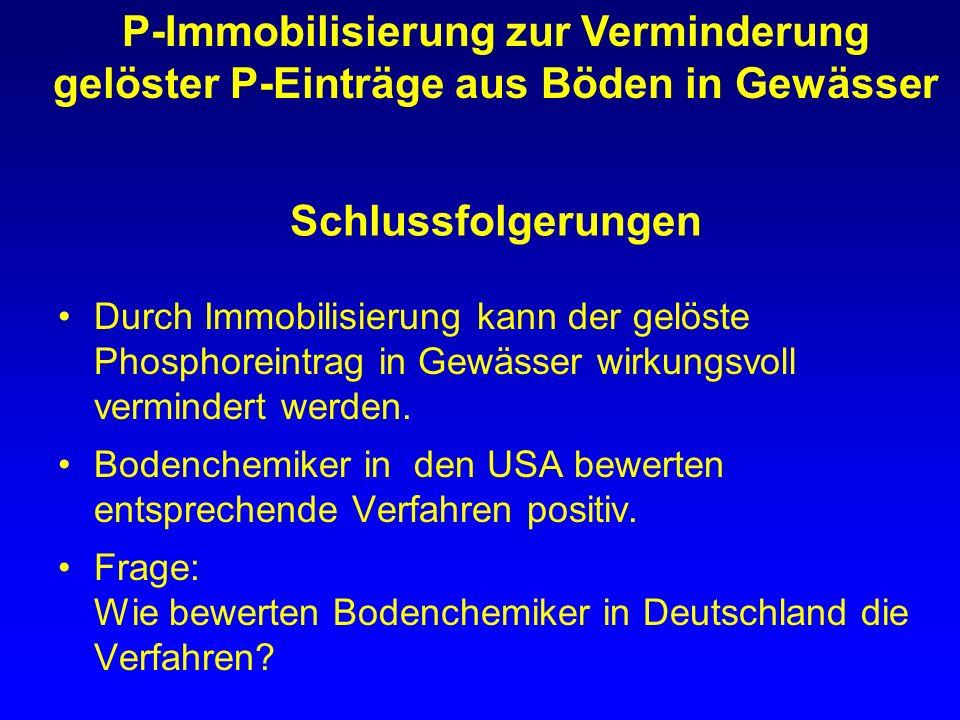 Schlussfolgerungen Durch Immobilisierung kann der gelöste Phosphoreintrag in Gewässer wirkungsvoll vermindert werden. Bodenchemiker in den USA bewerte