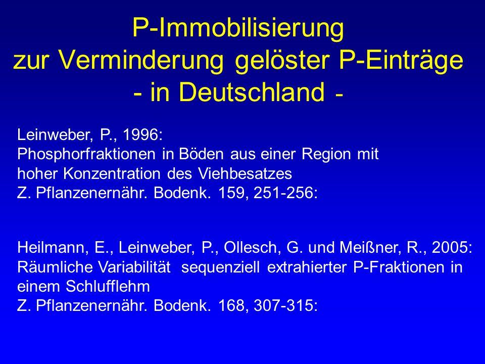P-Immobilisierung zur Verminderung gelöster P-Einträge - in Deutschland - Heilmann, E., Leinweber, P., Ollesch, G. und Meißner, R., 2005: Räumliche Va