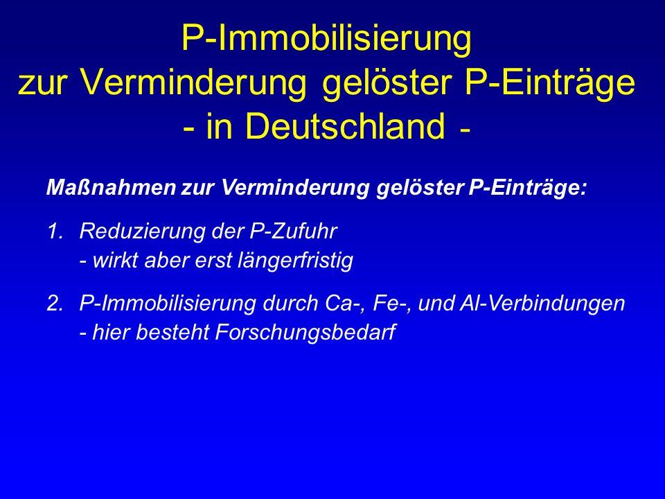 Maßnahmen zur Verminderung gelöster P-Einträge: 1.Reduzierung der P-Zufuhr - wirkt aber erst längerfristig 2.P-Immobilisierung durch Ca-, Fe-, und Al-