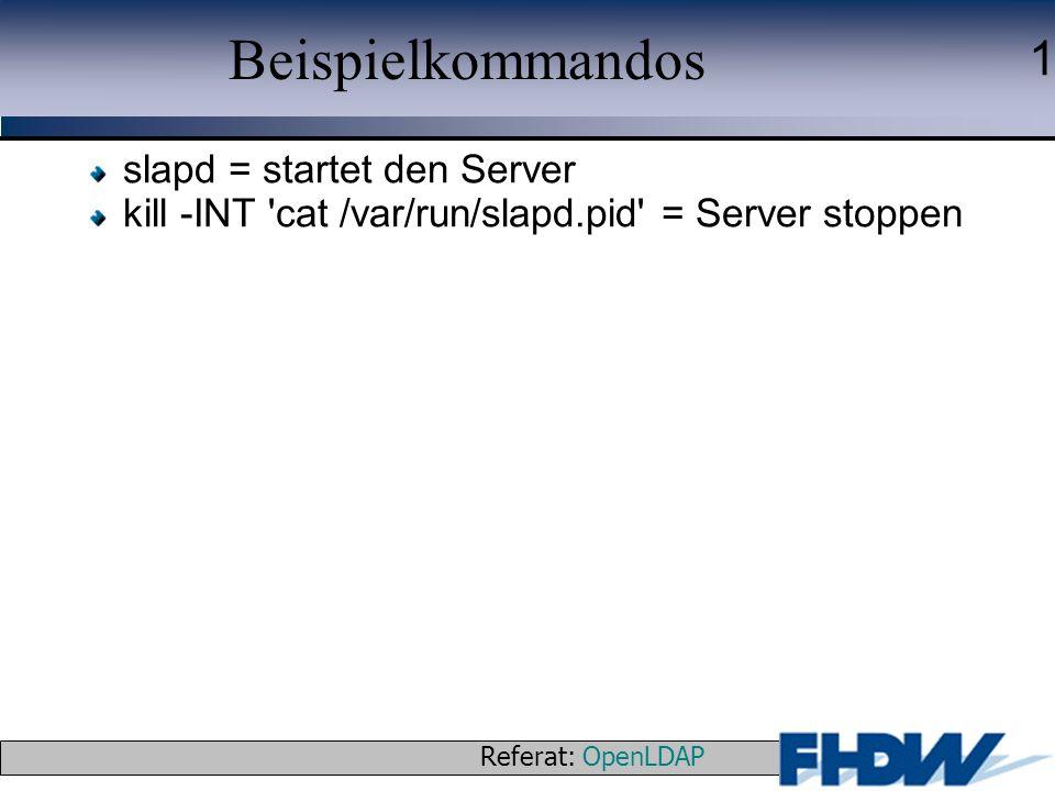 Referat: OpenLDAP © 2003 J. Schaper 1 Beispielkommandos slapd = startet den Server kill -INT 'cat /var/run/slapd.pid' = Server stoppen