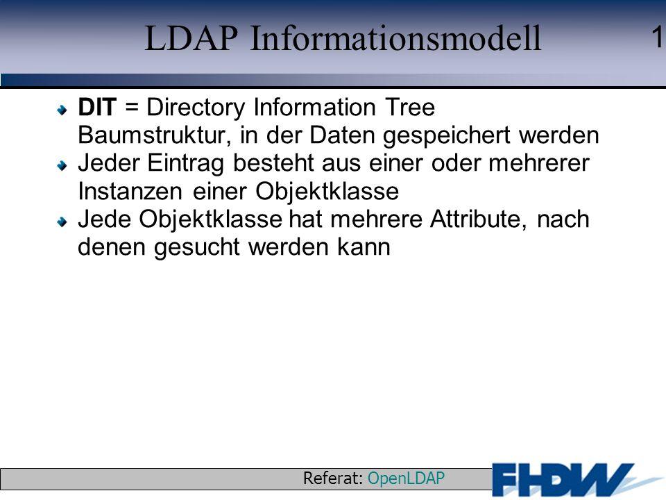 Referat: OpenLDAP © 2003 J. Schaper 1 LDAP Informationsmodell DIT = Directory Information Tree Baumstruktur, in der Daten gespeichert werden Jeder Ein
