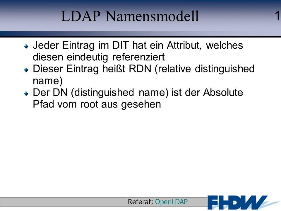 Referat: OpenLDAP © 2003 J. Schaper 1 LDAP Namensmodell Jeder Eintrag im DIT hat ein Attribut, welches diesen eindeutig referenziert Dieser Eintrag he