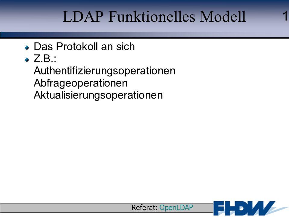 Referat: OpenLDAP © 2003 J. Schaper 1 LDAP Funktionelles Modell Das Protokoll an sich Z.B.: Authentifizierungsoperationen Abfrageoperationen Aktualisi