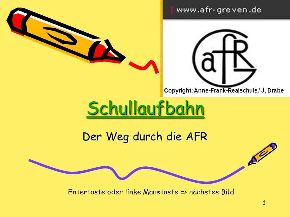 1 Schullaufbahn Der Weg durch die AFR Entertaste oder linke Maustaste => nächstes Bild Copyright: Anne-Frank-Realschule / J.