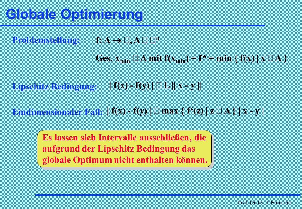 Prof. Dr. Dr. J. Hansohm Neuere Entwicklungen è Globale Optimierung è Clusterverfahren è sonstige Ansätze è Ameisensysteme è Künstliche Neuronale Netz