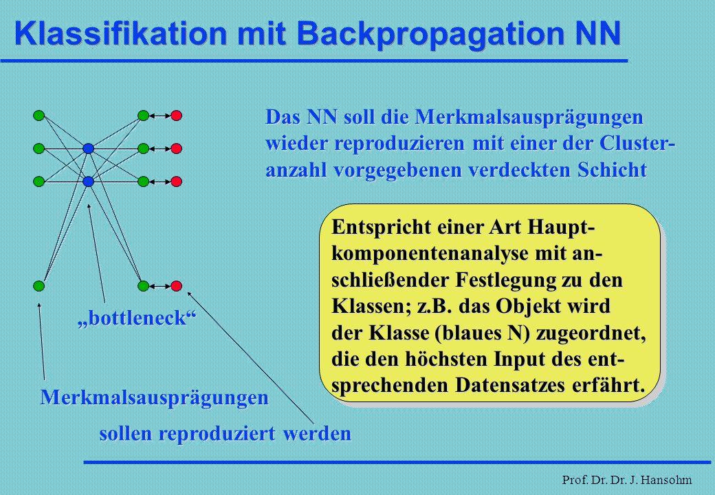 Prof. Dr. Dr. J. Hansohm NN bei qualitativen Daten schlecht mittel gut 0 0 1 0 1 1 w1w1 w2w2 nominaler Input quantitativer Input schlecht mittel gut w