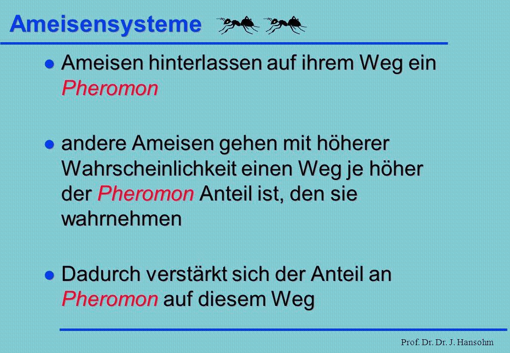 Prof. Dr. Dr. J. Hansohm Ameisensysteme Ameisensysteme sind wie bei den genetischen Algorithmen der Versuch, durch Adaption natürlichen Verhaltens Opt