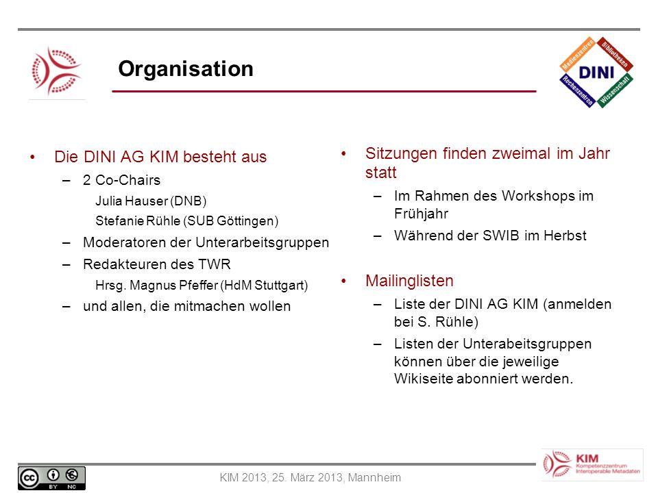 KIM 2013, 25. März 2013, Mannheim Organisation Die DINI AG KIM besteht aus –2 Co-Chairs Julia Hauser (DNB) Stefanie Rühle (SUB Göttingen) –Moderatoren