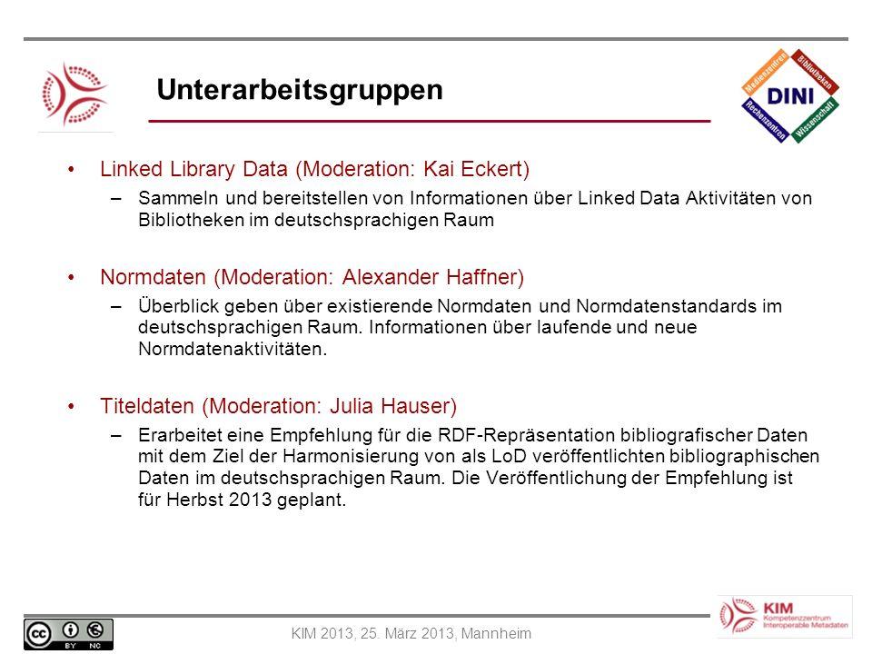 KIM 2013, 25. März 2013, Mannheim Unterarbeitsgruppen Linked Library Data (Moderation: Kai Eckert) –Sammeln und bereitstellen von Informationen über L
