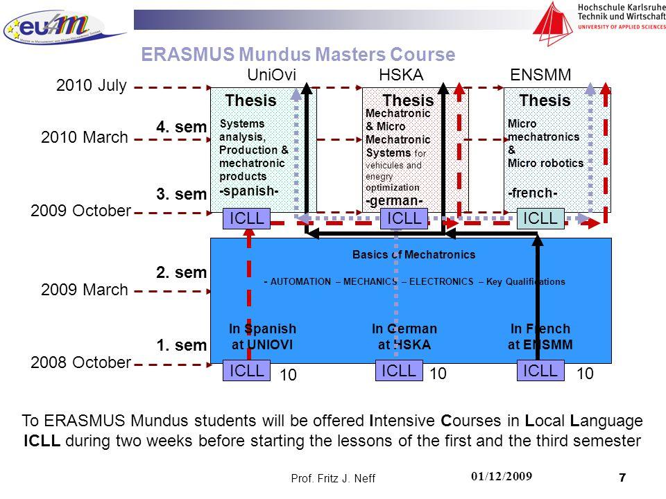 Prof. Fritz J. Neff7 2008 October 2009 March 2009 October 2010 March ERASMUS Mundus Masters Course To ERASMUS Mundus students will be offered Intensiv