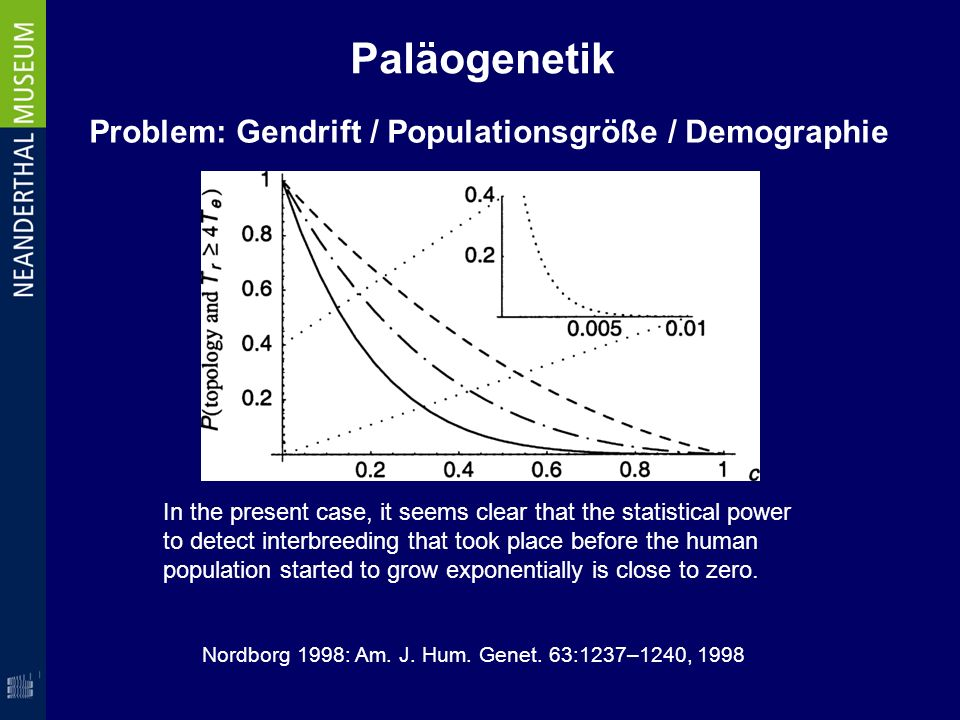 Paläogenetik In the present case, it seems clear that the statistical power to detect interbreeding that took place before the human population starte
