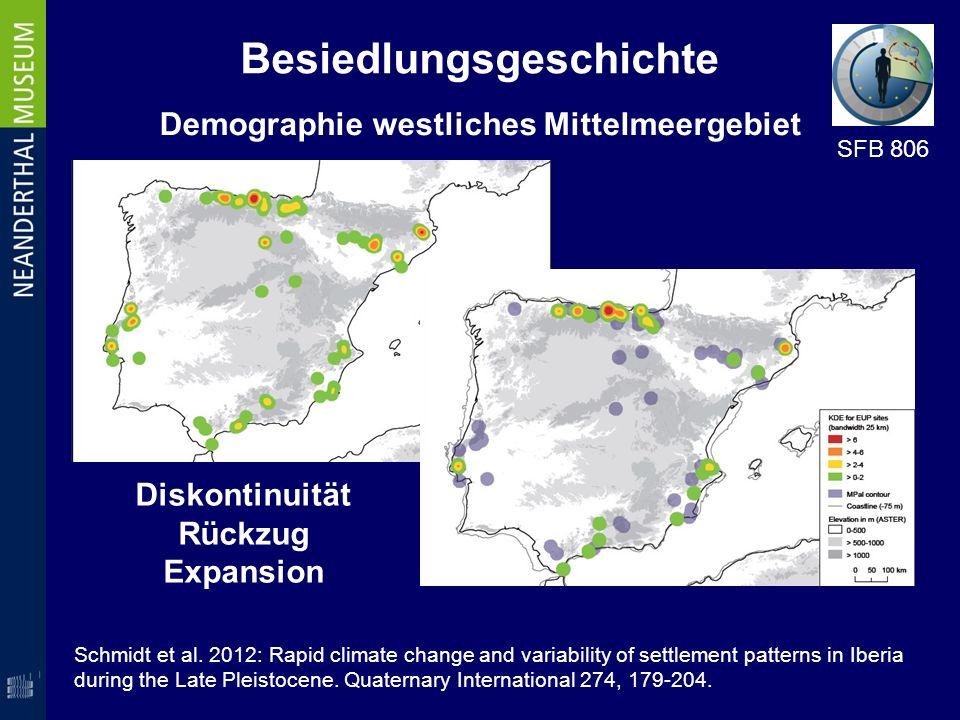 Besiedlungsgeschichte Demographie westliches Mittelmeergebiet Diskontinuität Rückzug Expansion SFB 806 Schmidt et al. 2012: Rapid climate change and v