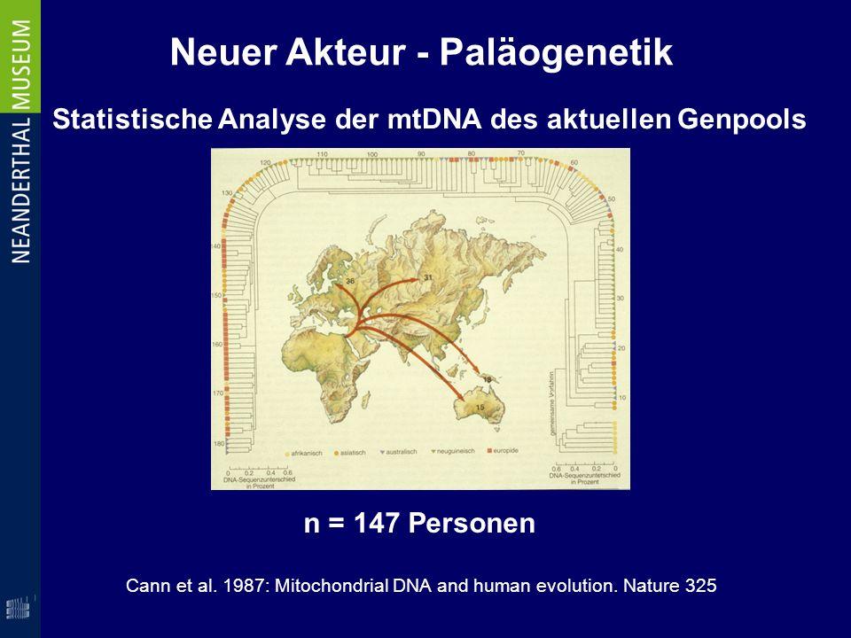 Neuer Akteur - Paläogenetik Cann et al. 1987: Mitochondrial DNA and human evolution. Nature 325 Statistische Analyse der mtDNA des aktuellen Genpools