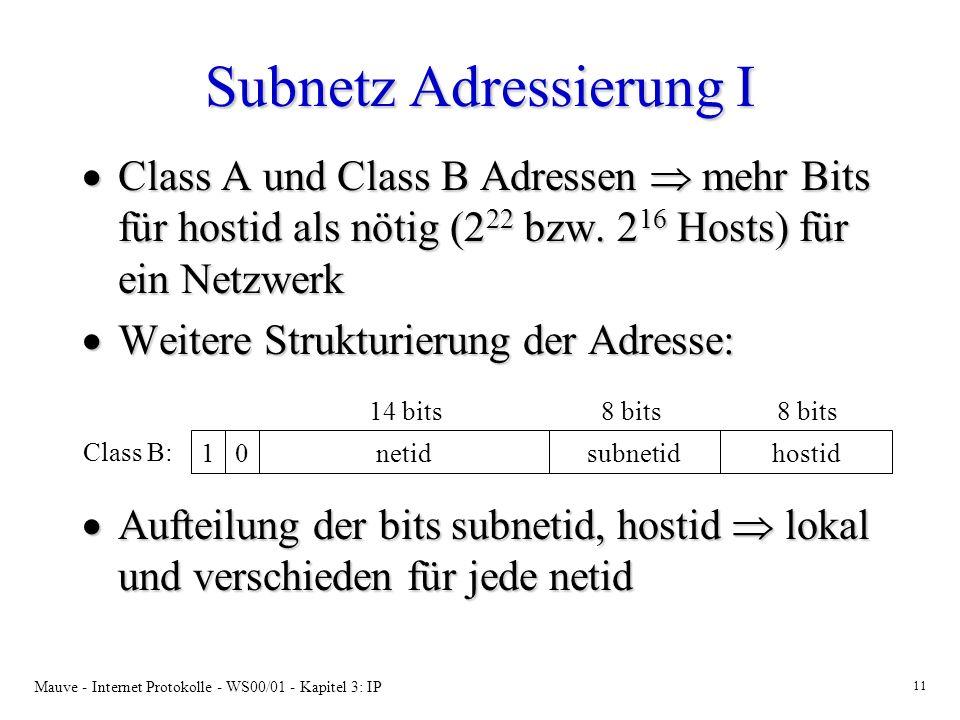 Mauve - Internet Protokolle - WS00/01 - Kapitel 3: IP 11 Subnetz Adressierung I Class A und Class B Adressen mehr Bits für hostid als nötig (2 22 bzw.