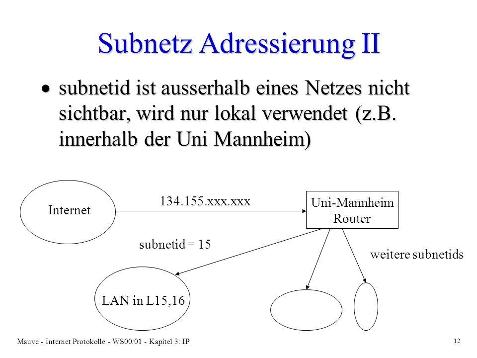 Mauve - Internet Protokolle - WS00/01 - Kapitel 3: IP 12 Subnetz Adressierung II subnetid ist ausserhalb eines Netzes nicht sichtbar, wird nur lokal v