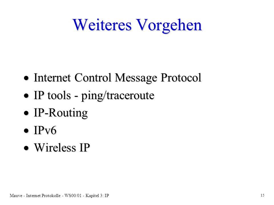 Mauve - Internet Protokolle - WS00/01 - Kapitel 3: IP 15 Weiteres Vorgehen Internet Control Message Protocol Internet Control Message Protocol IP tool