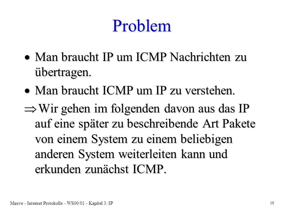 Mauve - Internet Protokolle - WS00/01 - Kapitel 3: IP 18 Problem Man braucht IP um ICMP Nachrichten zu übertragen. Man braucht IP um ICMP Nachrichten