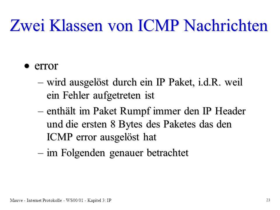 Mauve - Internet Protokolle - WS00/01 - Kapitel 3: IP 23 Zwei Klassen von ICMP Nachrichten error error –wird ausgelöst durch ein IP Paket, i.d.R. weil