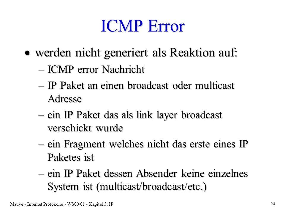 Mauve - Internet Protokolle - WS00/01 - Kapitel 3: IP 24 ICMP Error werden nicht generiert als Reaktion auf: werden nicht generiert als Reaktion auf: